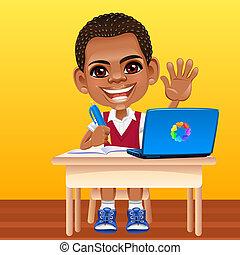 vektor, glada leende, afrikansk, skolpojke
