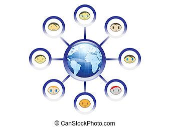 vektor, globális, barátok, hálózat, ábra
