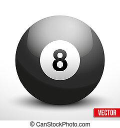 vektor, glob, boll, svart, biljard
