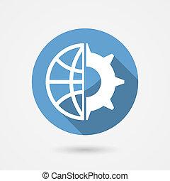 vektor, globale, teknologi, ikon