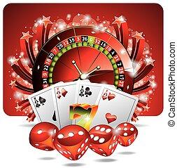 vektor, gluecksspiel, abbildung, mit, kasino, elemente