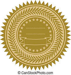 vektor, gold band, siegel