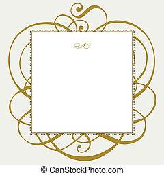 vektor, gold, verzierungen, und, punkt, rahmen