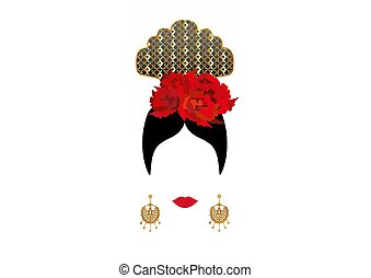 vektor, goldenes, frau, latein, gold, peineta, ohrringe, oder, tänzer, accessoirs, freigestellt, traditionelle , blume, spanischer , porträt, flamenco, dame, rotes , ikone