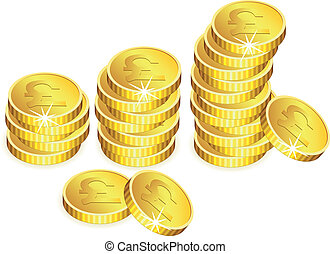 vektor, goldenes, geldmünzen, mit, funkeln
