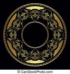 vektor, goldenes, platte