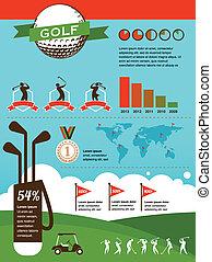 vektor, golfen, infographics