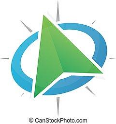 vektor, gps, lokalisering, logo