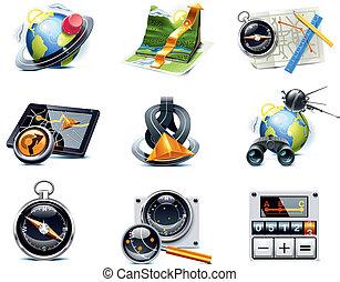 vektor, gps, navigace, icons., p.1