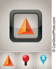vektor, gps, navigation, ikon