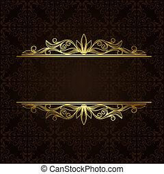 vektor, gräns, guld, utsirad