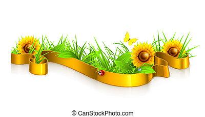 vektor, græs, bånd