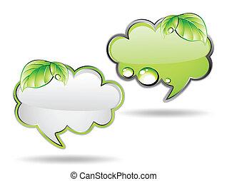 vektor, grön, leaf., baner, moln
