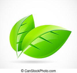 vektor, grön leaf, begrepp