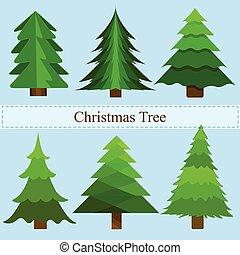 vektor, grön, sätta, träd, jul