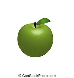 vektor, grønt æble