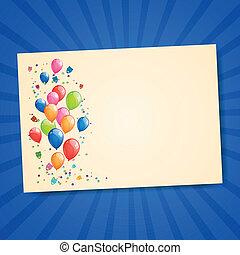 vektor, grüßen karte, mit, farbenprächtige luftballons