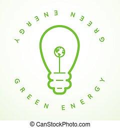 vektor, grün, energie, ikone