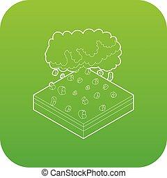 vektor, grün, wolke, hagel, ikone