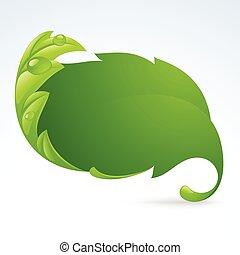 vektor, grünes blatt, rahmen, fruehjahr, hintergrund