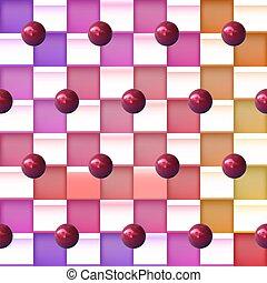 vektor, grafické pozadí, s, barvitý, čtverhran, a, realistický, koules
