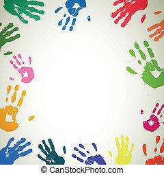 vektor, grafické pozadí, s, barvitý, handprints