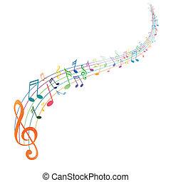 vektor, grafické pozadí, s, hudba zaregistrovat