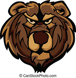 vektor, grafický, o, medvěd grizzly, masc