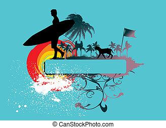 vektor, grafik formge, fridsam, surfare