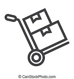 vektor, grafik, karton, 10., lineære, mønster, fødsel, tegn, eps, bokse, baggrund, lastbil, dukke, logistic, ikon, hvid, hånd, beklæde