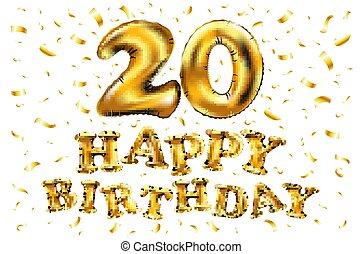 20 år grattis Gyllene, 20, labe, år, födelsedag, lycklig. Gyllene, 20 år  20 år grattis