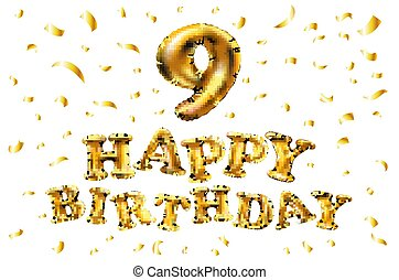 grattis på 9 årsdagen Guld, år, inbjudan, din, baner, &, årsdag, fira, sväller, lycklig  grattis på 9 årsdagen