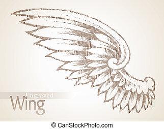 vektor, graver, vinge, udsmykket