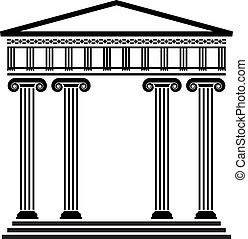vektor, grek, forntida, arkitektur
