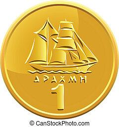 vektor, grek, pengar, guldmynt, presentera, skepp