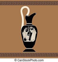 vektor, grek, vase.