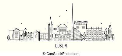 vektor, groß, dublin, gebäude, skyline, stadt, irland