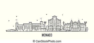 vektor, groß, monaco, linie, gebäude stadt, skyline