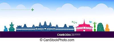 vektor, großartig, spielraum- bestimmungsort, cambodscha, ...
