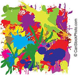 vektor, grunge, festmény