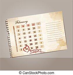 vektor, grunge, hintergrund, für, tag valentines, mit, der, kalender