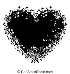 vektor, grunge, hjärta, valentinkort