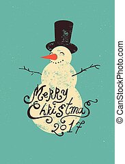 vektor, grunge, illustration., calligraphic, snowman., design, retro, julkort