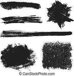 vektor, grunge, söpör, 2, fekete, állhatatos