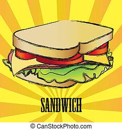 vektor, grunge, sandwich