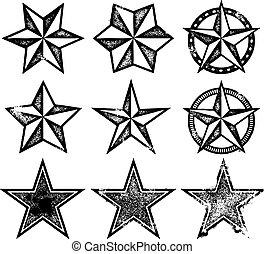 vektor, grunge, stjerner