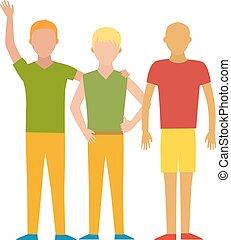 vektor, grupp, illustration., folk