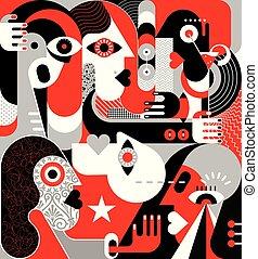 vektor, grupp, illustration, folk