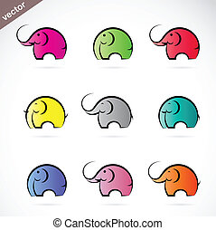 vektor, gruppe, bunte, elefant