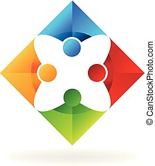 vektor, gruppe, innovating, leute